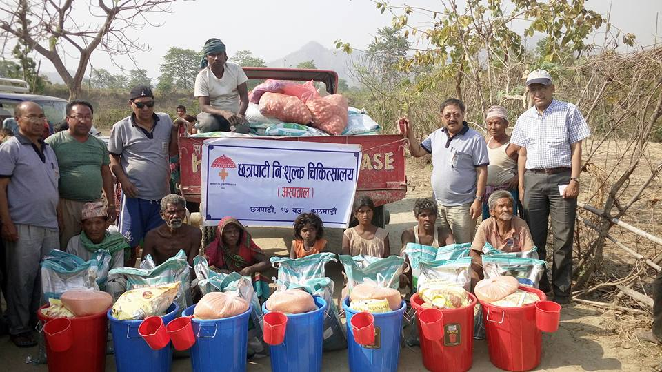 Relief to 33 Mushahar families at Mirchaiya village at Siraha district
